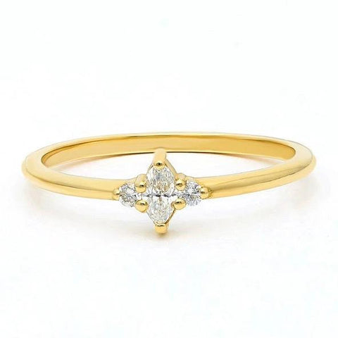 Gold Marquise Diamond Stacking Ring