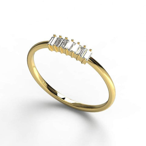 Gold 7 Baguette Diamond Wedding Band