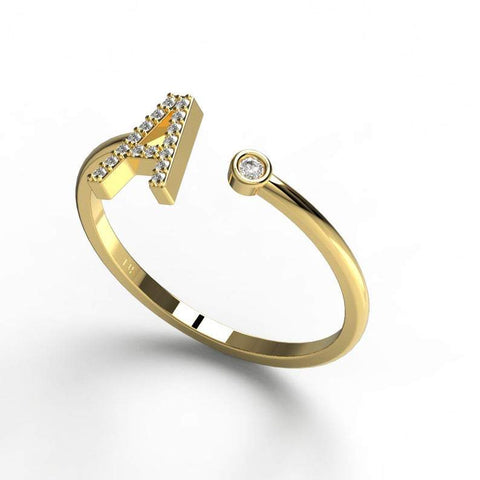 Gold Diamond Initial Ring