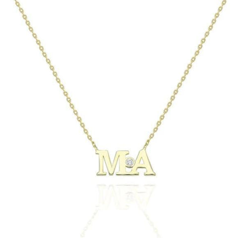 Gold Bezel Diamond Initial Necklace