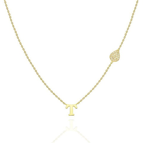 Gold Diamond Teardrop and Initial Charm Necklace