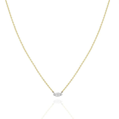 Gold Diamond Marquise Layer Necklace