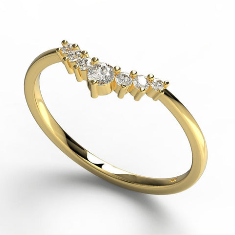 14k Gold Round Diamond Stacking Ring