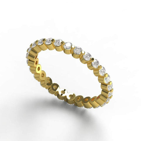 Gold Floating Diamond Eternity Wedding Band