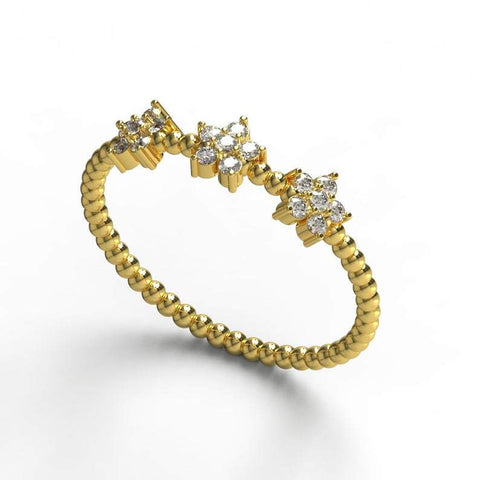 Gold Diamond Flower Beaded Stacking Ring