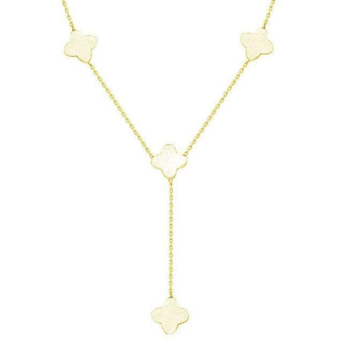 Gold Clover Charm Lariat Necklace