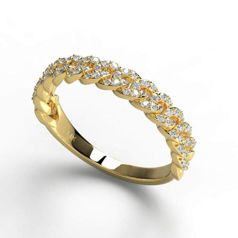 Gold Diamond Link Wedding Band