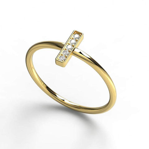 Vertical Bar Diamond Ring