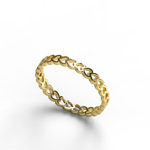 Gold Eternity Heart Stacking Ring