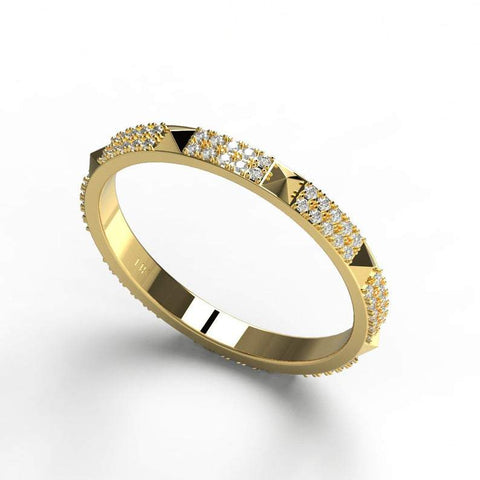 Gold Pyramid and Diamond Stacking Ring