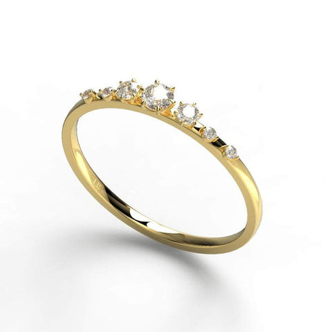 Ascending Gold Round Diamond Wedding Band
