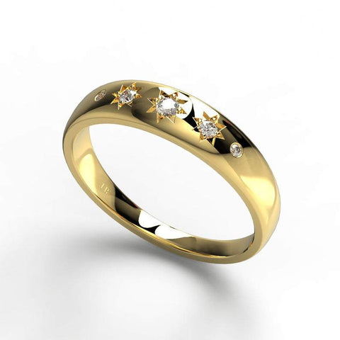Engraved Star Diamond Stacking Ring