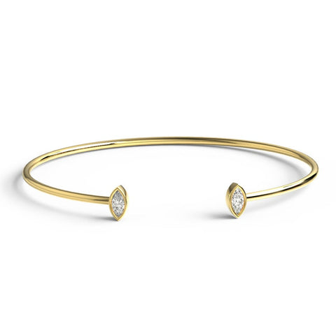 14k Gold Marquise Diamond Cuff Bangle