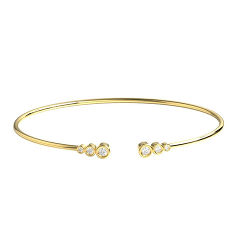 14k Gold Bezel Diamond Wire Bangle