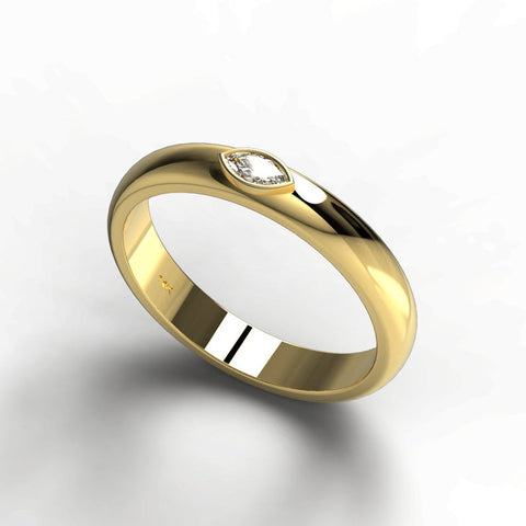14k Gold Marquise Diamond Wedding Band