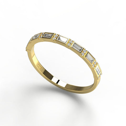 14k Gold Baguette Diamond Half Eternity Band