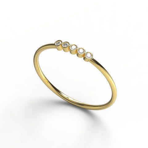 14K GOLD BEZEL ROUND DIAMOND WEDDING BAND