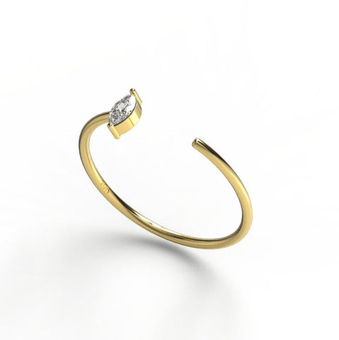 14k Gold Marquise Diamond Cuff Band