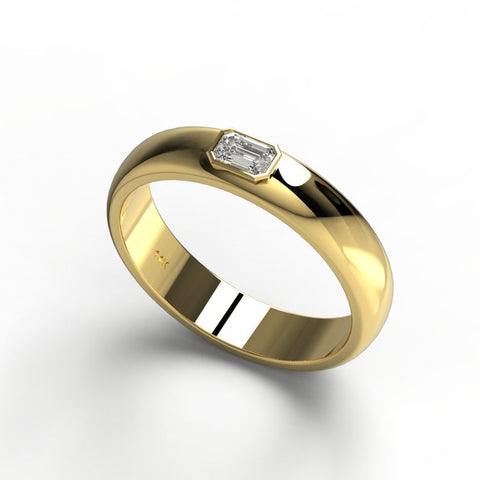 14k Gold Emerald Cut Diamond Wedding Ring