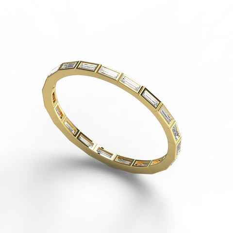 14k Gold Baguette Diamond Wedding Band