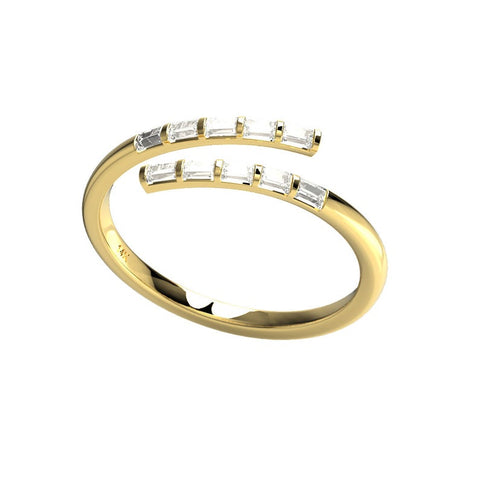 14k Gold Baguette Cut Spiral Diamond Cuff Ring