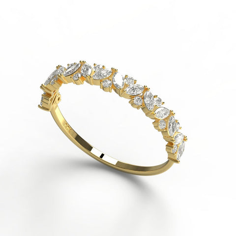 14k Marquise and Round Diamond Wedding Ring