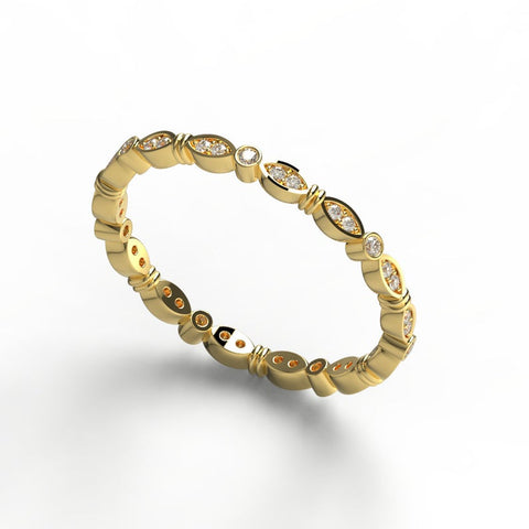 14k Gold Marquise Designed Round Diamond Stacking Ring
