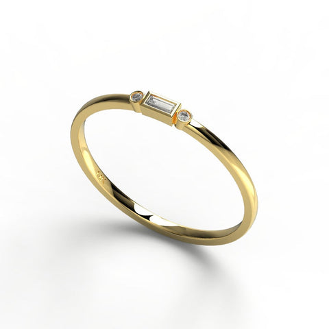 14k Gold Bezel Baguette Diamond Wedding Band