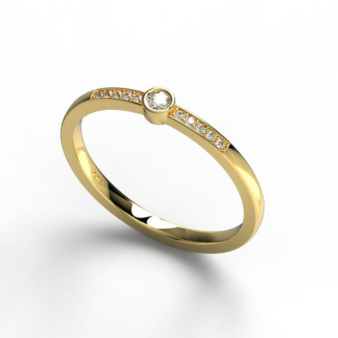 14k Gold Round Bezel Diamond Wedding Band