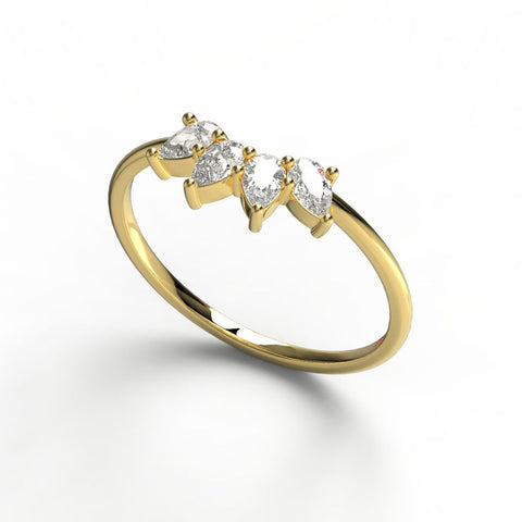 14k Gold Pear Diamond Wedding Band
