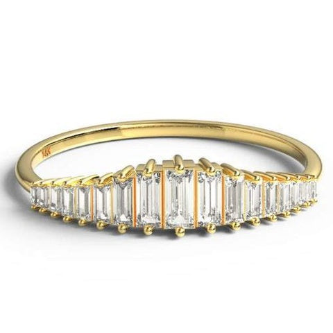 14k Gold Curved Baguette Diamond Wedding Band