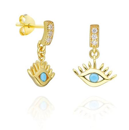Diamond and Turquoise Evil Eye Earrings