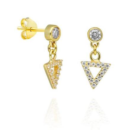 Diamond Dangle Triangle Studs