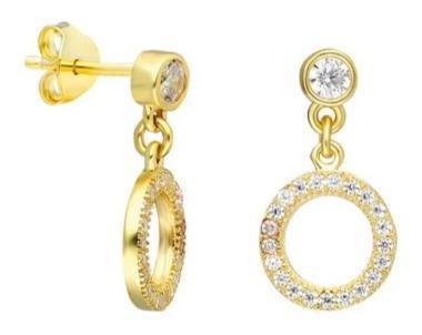 Diamond Dangle Open Circle Earrings