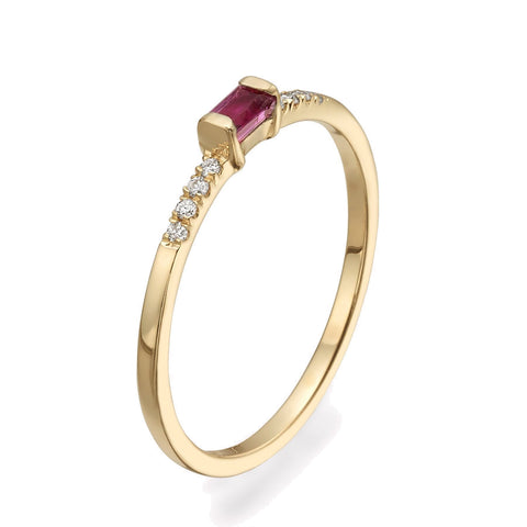 Diamond Ruby Baguette Ring