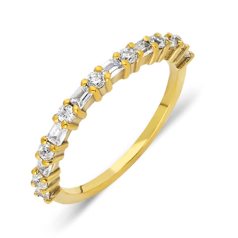 Round Diamond Baguette Stacking Ring