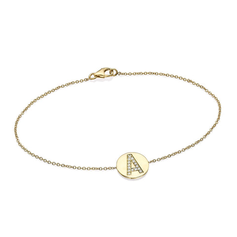 Gold Diamond Initial Disc Bracelet