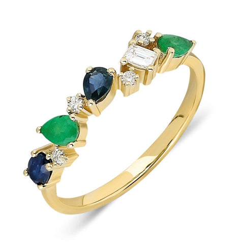 Pear Cut Emerald Sapphire Diamond Ring
