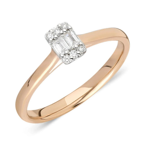 0.14CT Baguette Round Diamond Ring