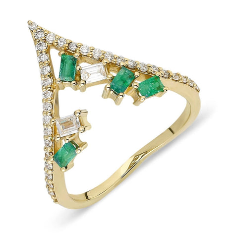 Curved Emerald Diamond Baguette Ring