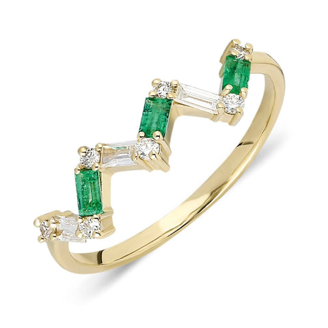 Zig Zag Emerald Diamond Baguette Ring