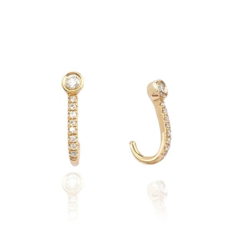 "Diamond Bezel ""J"" Earrings"