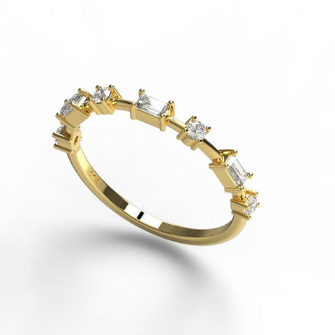 14k Gold Baguette and Round Diamond Wedding Band
