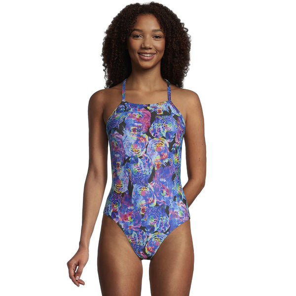 Womens's Printed Double X Back One Piece