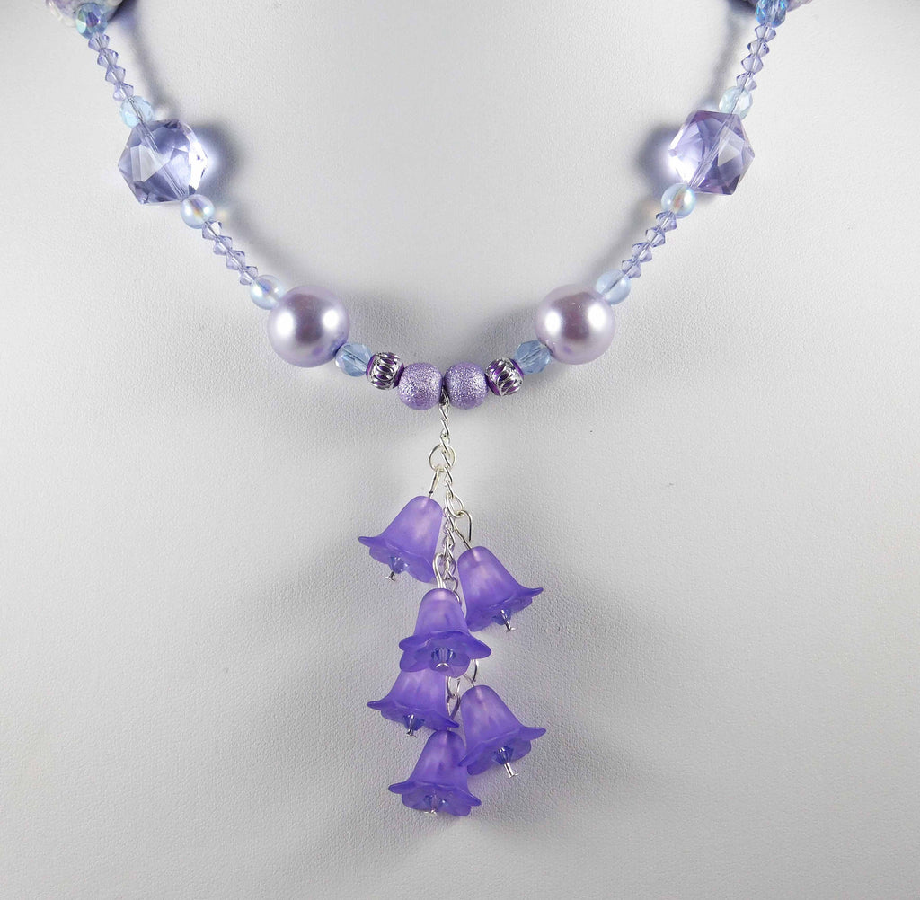 Purple Flowers Lavender Necklace With Swarovski Crystal Lavender Pea Crystal And Yarn