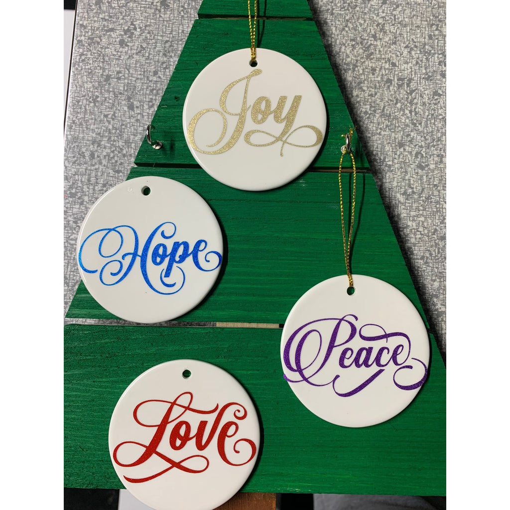 Set of 4 Christmas Word Ceramic Ornaments - Joy, Hope, Love & Peace