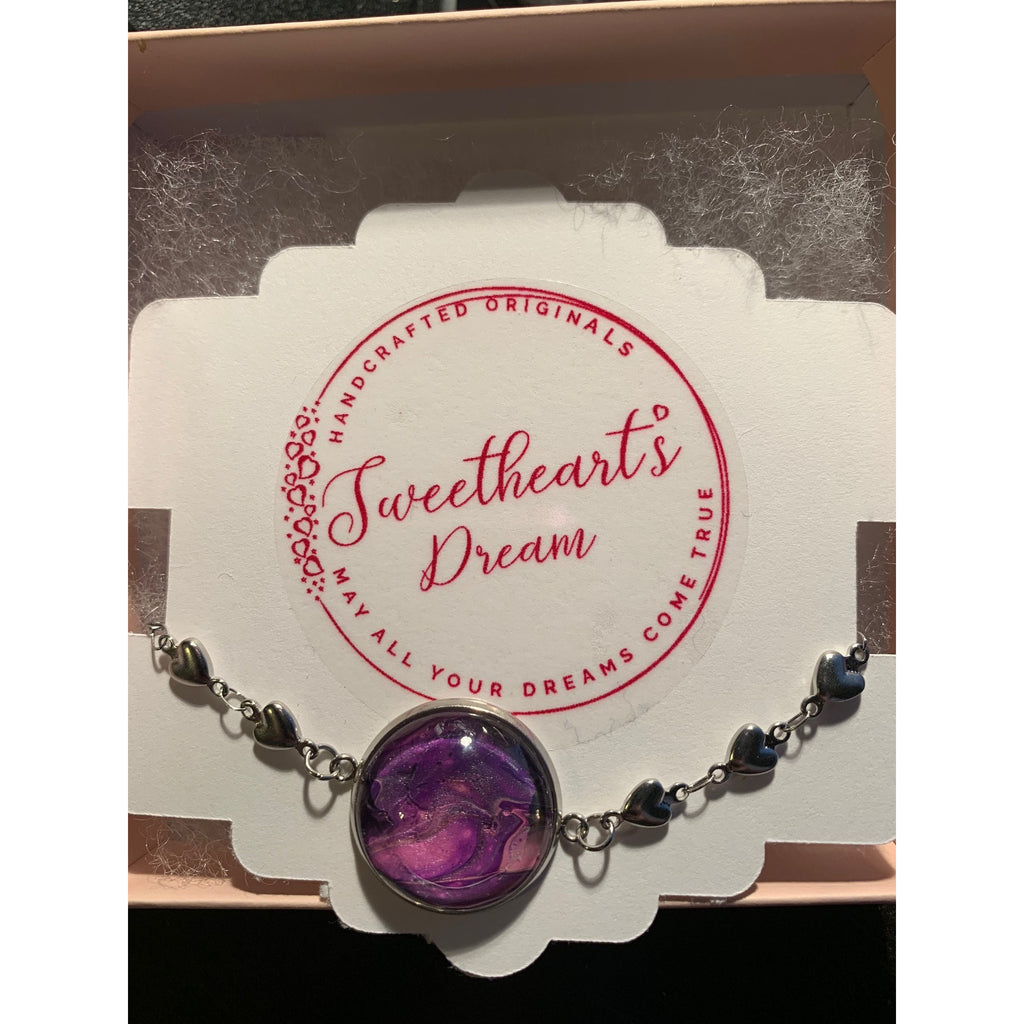 Silver Heart Chain Bracelet - Purple1