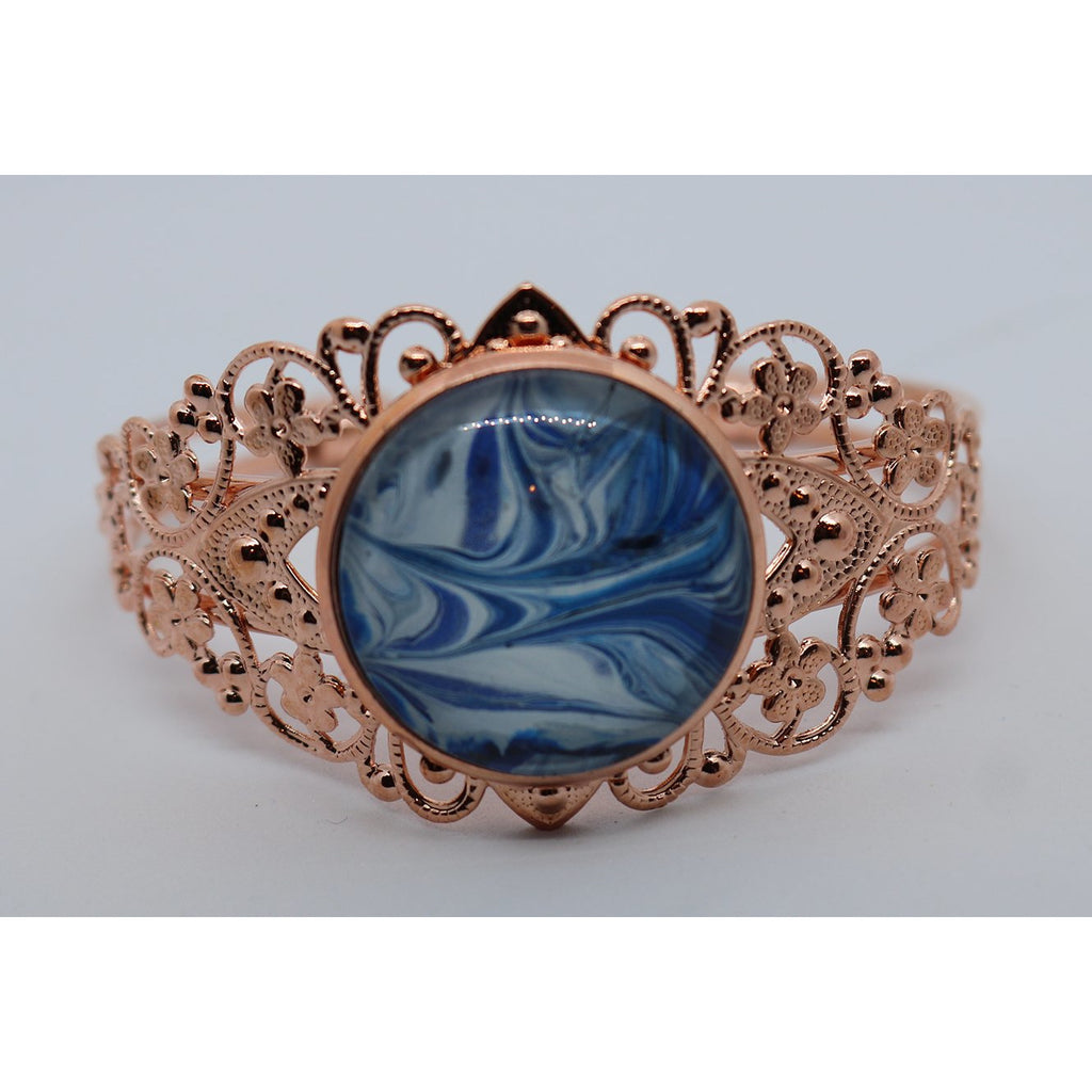 Rose Gold Cuff Bracelet - Blue1