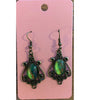 Oval Drop Antique Bronze Earrings - Green2