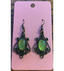 Oval Drop Antique Bronze Earrings - Green1